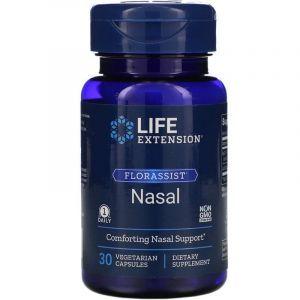 . Пробиотики при сезонной аллергии, Florassist Nasal, Life Extension, 30 вегетарианских капсул