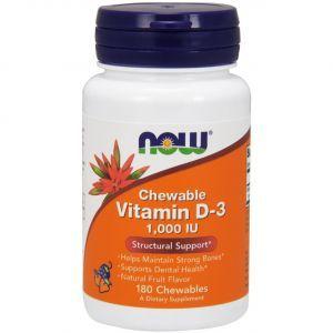 Витамин Д3, Chewable Vitamin D-3, Now Foods, 1000 МЕ, 180 конфет