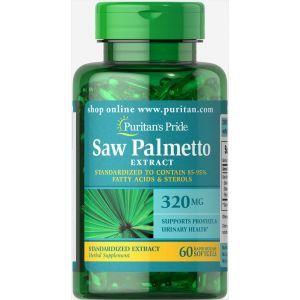 Со Пальметто, Saw Palmetto, Puritan's Pride, стандартизированный экстракт, 320 мг, 60 гелевых капсул