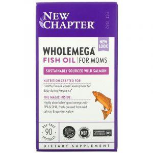Жир аляскинского лосося для мам, Wholemega For Moms, New Chapter, 500 мг, 90 капсул