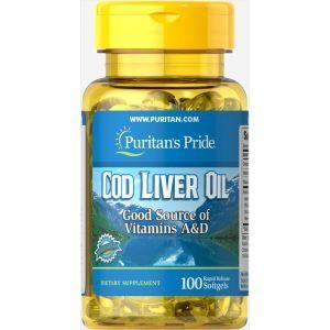Масло печени трески, Cod Liver Oil, Puritan's Pride, 415 мг, 100 гелевых капсул