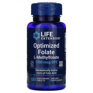 Фолат, Optimized Folate, Life Extensions, оптимизированный, 1700 мкг DFE, 100 таблеток