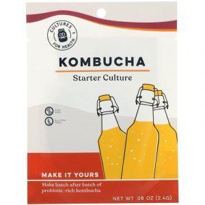 Чайный гриб, Kombucha, Cultures for Health, 1 пакетик (2,4 г)