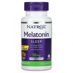 Мелатонин быстрого высвобождения (вкус клубники), Natrol, 10 мг, 60 таблеток