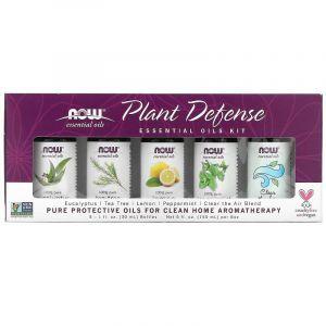 Набор эфирных масел, Plant Defense, Now Foods, 5 бутылок по 30 мл