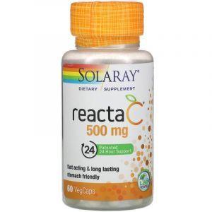 Витамин С, Reacta-C, Solaray, 500 мг, 60 кап.