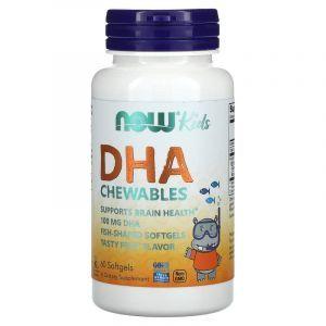 Рыбий жир для детей с фруктовым вкусом, Kid's DHA, Now Foods, 100 мг, 60 капс