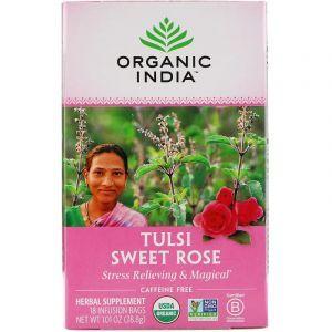 Чай тулси с базиликом, Сладкая роза, Tulsi Tea, Sweet Rose, Organic India, без кофеина, 18 чайных пакетиков, 28.8 г