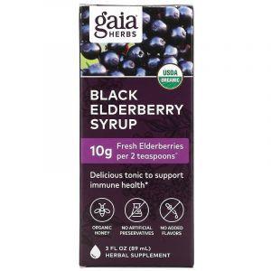 Сироп черной бузины, Black Elderberry Syrup, Gaia Herbs, 89 мл