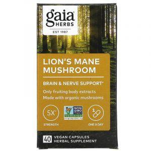 Ежовик гребенчатый, Lion's Mane Mushroom, Gaia Herbs, 40 веганских капсул