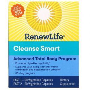 Полное очищение организма, Cleanse Smart, Renew Life, 30-дневный курс, 2 банки по 60 капсул