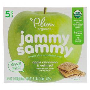 Овсяный батончик с яблоком и корицей, Jammy Sammy, Apple Cinnamon & Oatmeal, Plum Organics, 5 батончиков