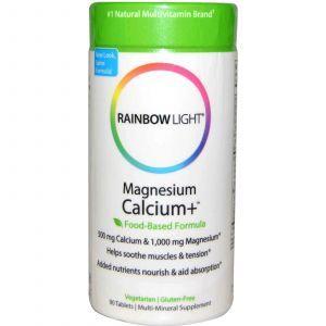 Кальций и магний, Rainbow Light, 2:1, 90 таблеток