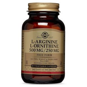 Aргинин орнитин, L-Arginine L-Ornithine, Solgar, 500/250 мг, 50 капсул (Default)