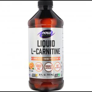 Л карнитин жидкий, L-Carnitine, Now Foods, Sports, цитрус, 1000 мг, 473 мл