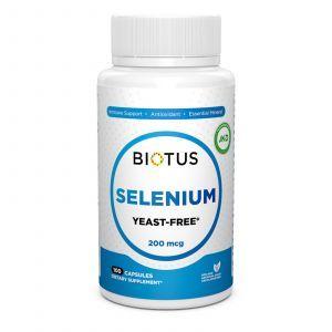 Селен, Selenium, Biotus, без дрожжей, 200 мкг, 100 капсул