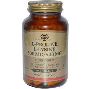 Л- пролин/ Л- лизин, L-Proline/L-Lysine, Solgar, 90 таб.
