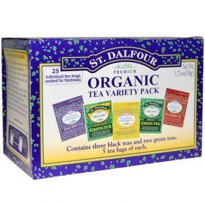 Органический чай с разными вкусами, Organic Tea Variety Pack, St. Dalfour, 50 г