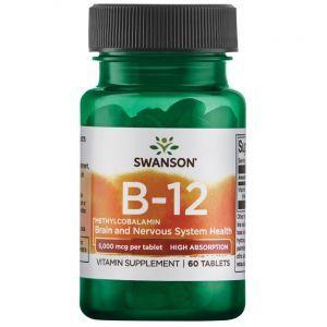 Витамин В12 (метилкобаламин), Ultra Vitamin B-12 Methylcobalamin, Swanson, 5000 мкг, высокая абсорбция, клубничный вкус, 60 таблеток