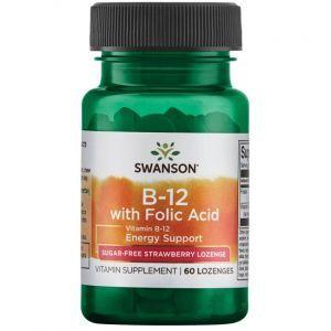Витамин В-12 и фолиевая кислота, Ultra Vitamin B-12 with Folic Acid, Swanson, вкус клубники, 60 леденцов
