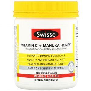 Витамин С + мед манука, Vitamin C + Manuka Honey, Swisse, 240 жевательных таблеток