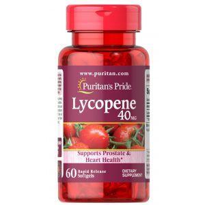 Ликопин, Lycopene, Puritan's Pride, 40 мг, 60 гелевых капсул