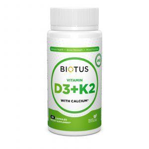 Витамин Д3, К2 с кальцием, Biotus, 60 капсул