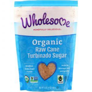 Турбинадо, тростниковый сахар, Turbinado, Raw Cane Sugar, Wholesome Sweeteners, Inc., 680 г