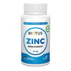 Цинк бисглицинат, Zinc Bisglycinate, Biotus, 15 мг, 100 капсул