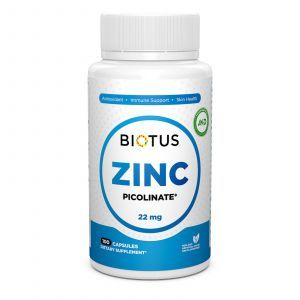Цинк пиколинат, Zinc Picolinate, Biotus, 22 мг, 100 капсул